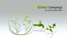 Green ECO World Campaign Green Water Vector Illustration
