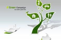 Green ECO World Campaign Green Tree Vector