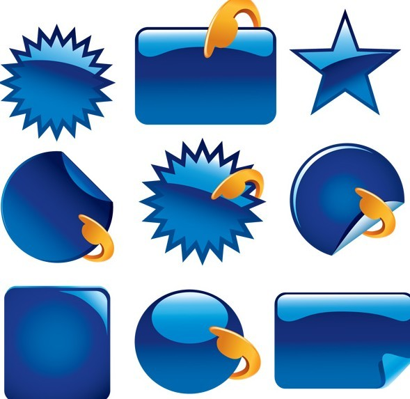 Set Of Vector Blue Glossy Label Sticker Templates