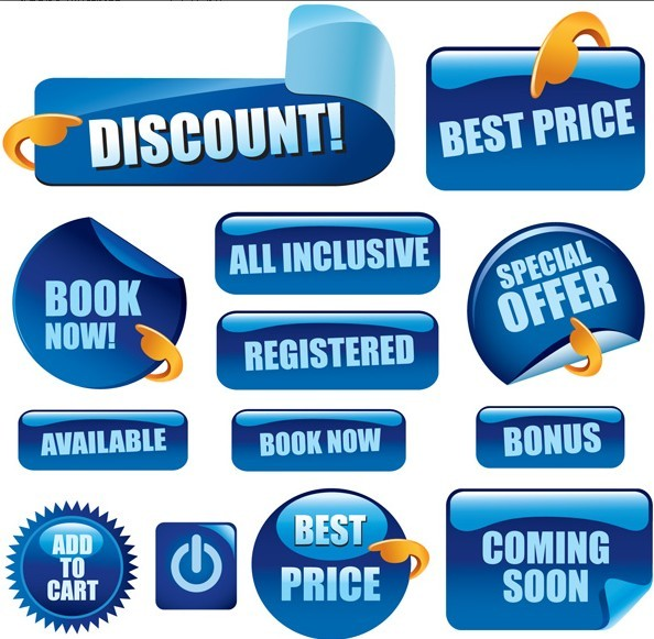 Set Of Vector Blue Glossy Retail Store Promotion Labels 01