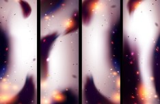 Set Of Vector Blurred Abstract Smoke Background 02
