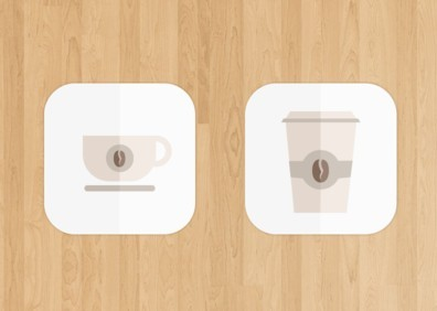 Folded Paper Coffee Icons PSD