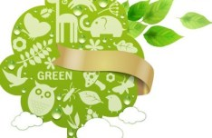 ECO Concept Green Tree with Gold Ribbon Vector