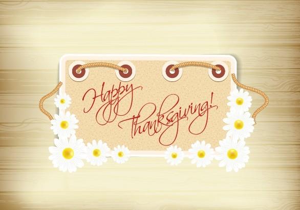 Happy Thanksgiving Flower Frame Vector