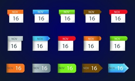 Set OF Vector Colored Infographic Calendar Labels 01