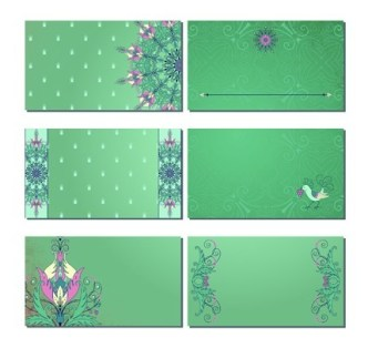 Set Of Green Card Templates with Classical Pattern Backgrounds 02
