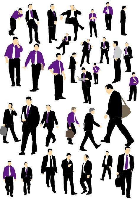 Set Of Vector Business Man Silhouettes