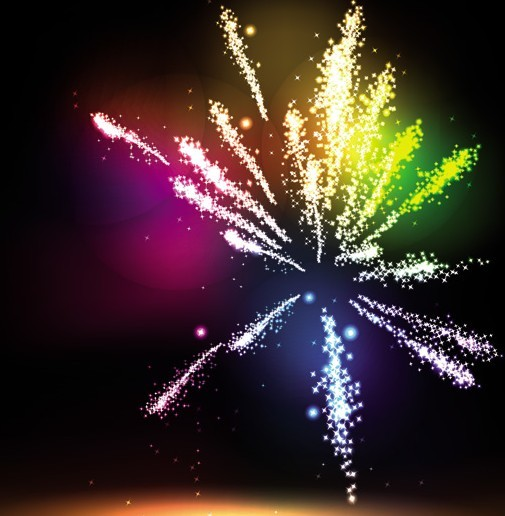 Colorful & Bright Fireworks Background Vector 01