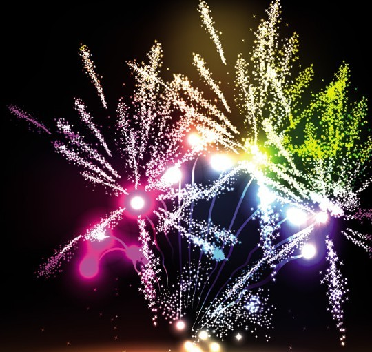 Colorful & Bright Fireworks Background Vector 02