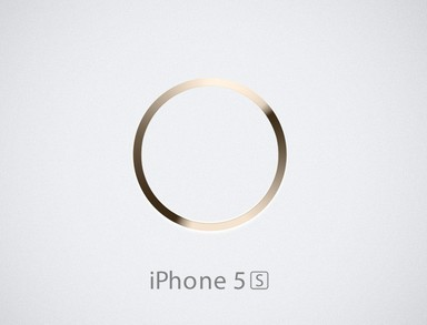 Gold iPhone 5S Home Button PSD