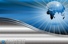 Metallic Earth and World Map Background Vector 05