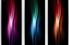 Set Of Vertical Banners With Colorful Abstract Waves Backgrounds 01
