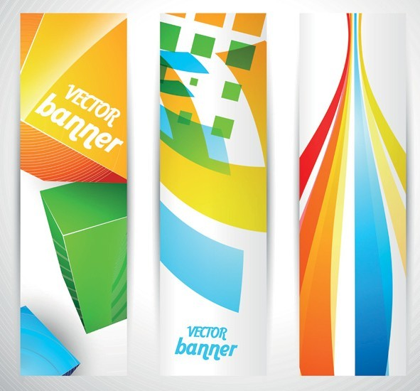 Colored Bright Web Banner & Header Designs Vector 04