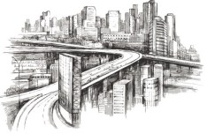 Modern City Sketch Vector