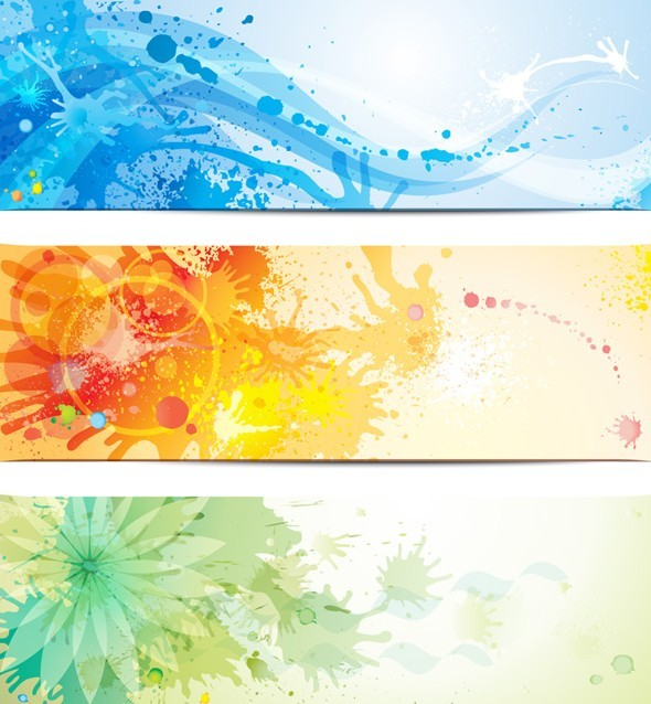 Set Of Vector Grunge Banners with Splash Flowers Backgrounds