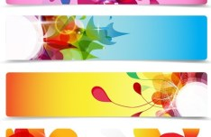 Set Of Vector Rounded Banners with Watercolor Flowers Backgrounds