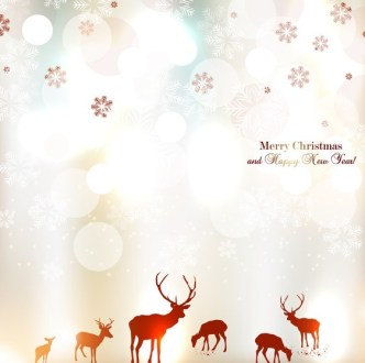Bright Christmas Elk Card Background Vector 02