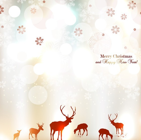 Bright Christmas Elk Card Background Vector 02