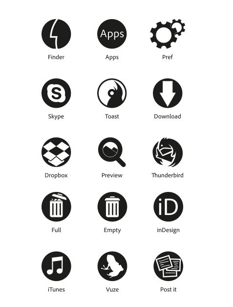 Minimal Black Flat Icon Set Vector