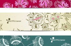 Set Of Beautiful Hand Drawn Flower Banners Vector 01
