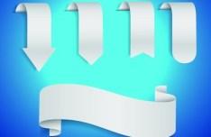 Set Of White Blank Ribbon Designs Vector 02