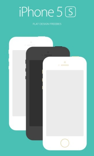 Flat iPhone 5S Mockup PSD