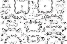 Set Of Retro Black Floral Pattern Ornaments