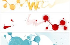 Set Of Vector Colored Banners with Abstract Paint Splash Backgrounds