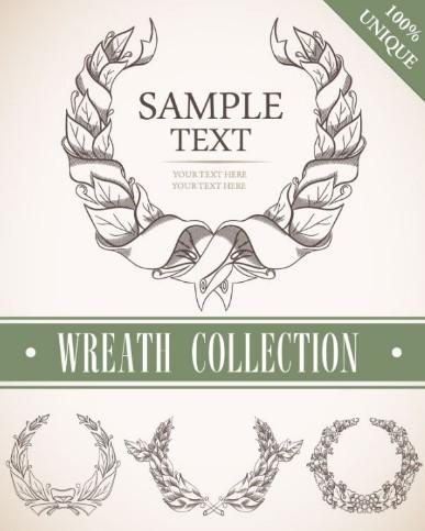 Set Of Vintage Wreath Designs Vector 01