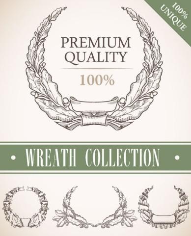 Set Of Vintage Wreath Designs Vector 02