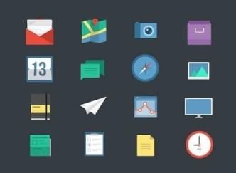 16 Flat Web Icons PSD