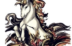 Ink Painting Galloping Horse Vector 02