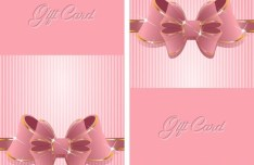 Sweet Gift Card with Shiny Bow Vector 01