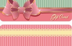 Sweet Gift Card with Shiny Bow Vector 02