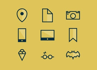 Yellow Flat Icon Set PSD