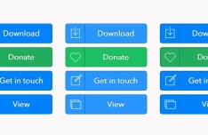 Blue and Green Flat Web Button Set PSD
