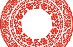 Red Classical Floral Pattern Vector