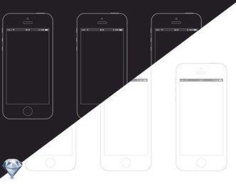 iPhone 5S Wireframe PSD Templates (Black and White)