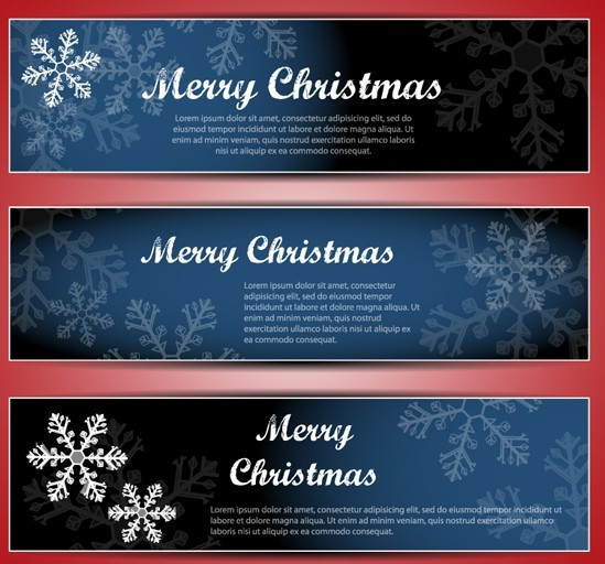 Set Of Vector Merry Christmas Banners with Snowflakes Backgrounds