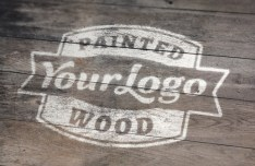 Painted Wood Logo Mockup PSD