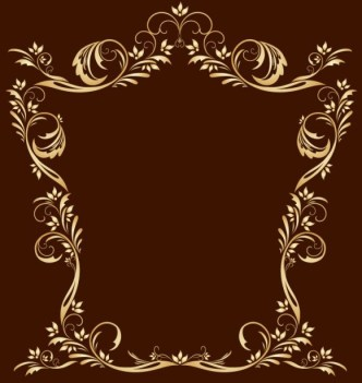 Gold Royal Floral Frame Vector 04