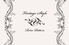Vintage Styled Simple Dark Floral Frame Vector 03
