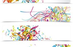 Set Of Clean Music Themed Banners Vector