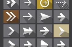 Flat Long Shadow Arrow Icons PSD
