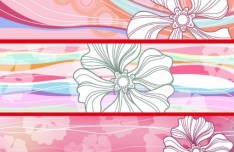 Set Of Vector Line Art Flower Banners