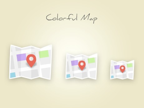Colored Map Icons PSD