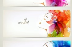 Set Of Clean Banners with Watercolor Flower Girl Backgrounds Vector 01