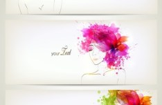 Set Of Clean Banners with Watercolor Flower Girl Backgrounds Vector 02
