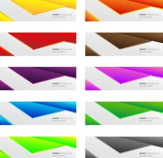 Set Of Vector Colored Banners with Abstract Shapes Background