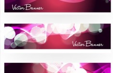 Set Of Vector Purple Banners with Halos and Curves Backgrounds